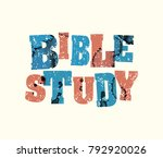 the words bible study concept... | Shutterstock .eps vector #792920026