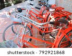 vintage red bicycle. | Shutterstock . vector #792921868