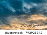 beautiful sunset with blue sky...   Shutterstock . vector #792928342