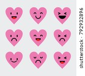 emoticon love character pink... | Shutterstock .eps vector #792932896