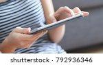 woman using digital tablet... | Shutterstock . vector #792936346