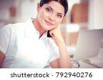 attractive businesswoman... | Shutterstock . vector #792940276