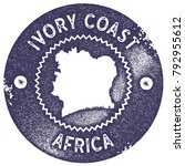 ivory coast map vintage deep... | Shutterstock .eps vector #792955612