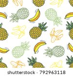 doodle tropic fruits or banana... | Shutterstock .eps vector #792963118