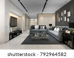 3d rendering blue sofa in... | Shutterstock . vector #792964582
