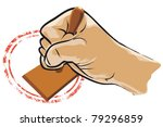 hand holding a stamp and grunge ... | Shutterstock .eps vector #79296859