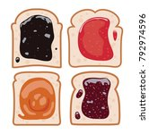 vector bread slices with fruit... | Shutterstock .eps vector #792974596
