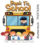 back to school theme with kids... | Shutterstock .eps vector #792976396
