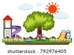 scene of playground with slides ... | Shutterstock .eps vector #792976405