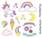 unicorn magic design element set | Shutterstock .eps vector #792998716
