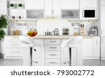 modern kitchen interior with... | Shutterstock . vector #793002772