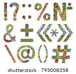 unusual colorfull alphabet... | Shutterstock .eps vector #793008358