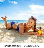 sun kissed beauty. happy active ... | Shutterstock . vector #793010272
