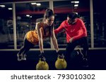 close up of attractive strong... | Shutterstock . vector #793010302
