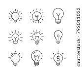 light bulb  line icon set.... | Shutterstock .eps vector #793011022