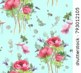 seamless floral pattern with... | Shutterstock . vector #793012105