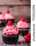 chocolate cupcakes with pink... | Shutterstock . vector #793022896