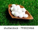 white naphthalene balls on... | Shutterstock . vector #793023466