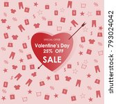 valentine's day 25  off sale... | Shutterstock .eps vector #793024042