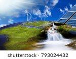 wind turbines and solar panels... | Shutterstock . vector #793024432