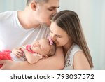 happy young family with cute... | Shutterstock . vector #793037572