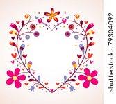 floral heart frame - stock vector