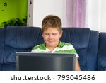 obese little boy sitting at the ... | Shutterstock . vector #793045486