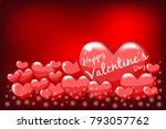 happy valentine's day lettering ... | Shutterstock .eps vector #793057762