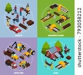 sawmill 2x2 design concept set...   Shutterstock . vector #793058212
