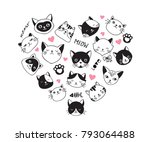 cats love  collection of vector ... | Shutterstock .eps vector #793064488