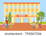 school  children go to school.... | Shutterstock .eps vector #793067236