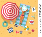 summer holidays on beach with... | Shutterstock .eps vector #793086565