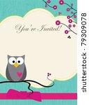 cute owl card | Shutterstock .eps vector #79309078