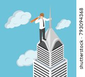 flat 3d isometric businessman... | Shutterstock .eps vector #793094368