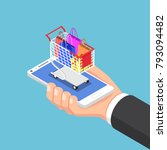 flat 3d isometric businessman... | Shutterstock .eps vector #793094482