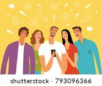 friends looking video and... | Shutterstock .eps vector #793096366
