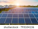 photovoltaic cells under blue... | Shutterstock . vector #793104136