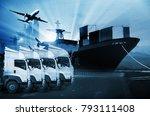 transportation  import export... | Shutterstock . vector #793111408