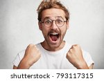 excited happy man screams with... | Shutterstock . vector #793117315