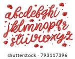 tomato ketchup font set.... | Shutterstock .eps vector #793117396