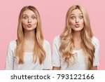 Small photo of Horizotal shot of two attractive sisters dressed in white casual blouses, pout lips and make grimace, isolated over pink background. Females with appealing look model in studio. Beauty concept