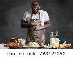 photo of black male cook bursts ... | Shutterstock . vector #793122292