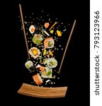 flying pieces of sushi with... | Shutterstock . vector #793123966