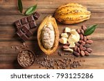 composition with cocoa pod and... | Shutterstock . vector #793125286