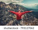 a hiker in outdoor red... | Shutterstock . vector #793127062
