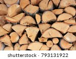 pile of firewood in the village | Shutterstock . vector #793131922