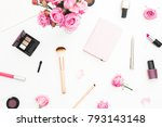 Stock photo beauty workspace with pink roses bouquet cosmetics diary on white background top view flat lay 793143148