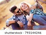 beautiful romantic couple is... | Shutterstock . vector #793144246