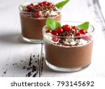 chocolate mousse with currant... | Shutterstock . vector #793145692