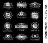 set of silver luxury labels... | Shutterstock . vector #793147405
